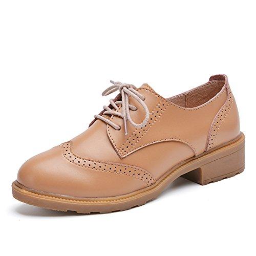 iFang - Zapatos de cordones para mujer negro negro marrón