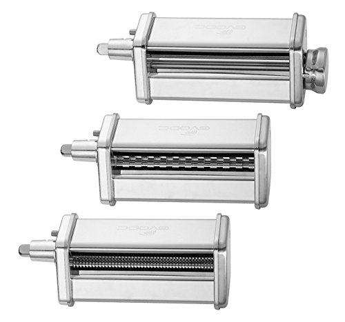 - 3-Piece Pasta Roller and Cutter Set fit KitchenAid Stand Mixers,Stainless Steel,mixer accessory by GVODE