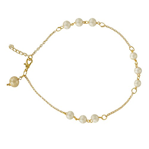Accessher Gold Plated Elegant Pearl Chain Designer Anklet for Women and Girls ()