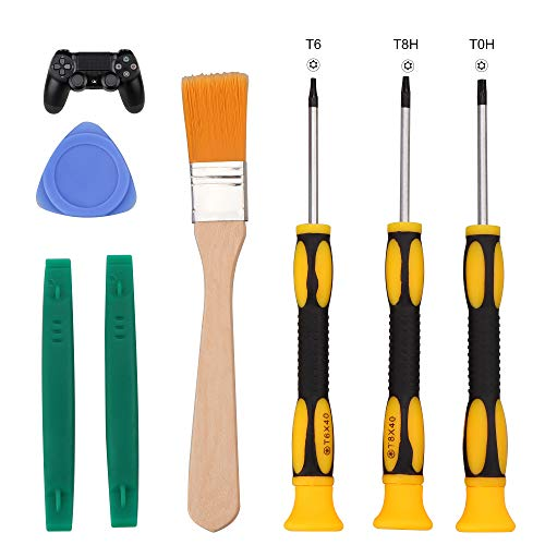T6 T8 T10 Screwdriver Tool Set for Xbox One Xbox 360 Controller and PS3 PS4 Console Repair Security Screw Driver with 2 Spudger Pry Bars, 1 Cleaning Brush and 1 ()