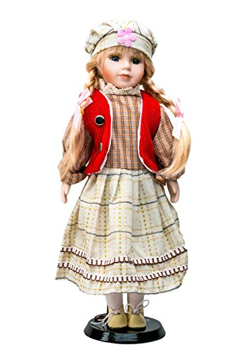 """Porcelain Doll On Stand 16"""" Peasant Girl With Blonde Brai..."""