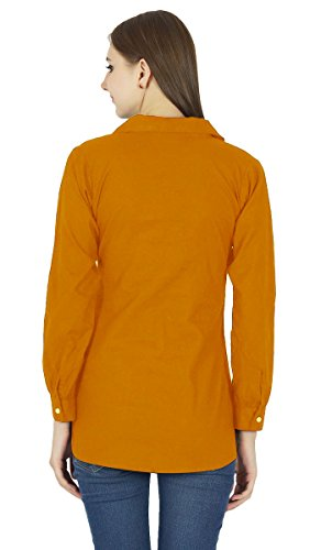 Button Shirt Top Orange Longues Manches Kurta Rust Vtements Coton Down Yr1wqY