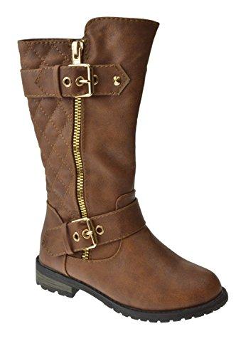 Brown Combat Boots For Girls (Mango 21K Little Girls Riding Zipper Boots,9 M US Toddler,Tan)