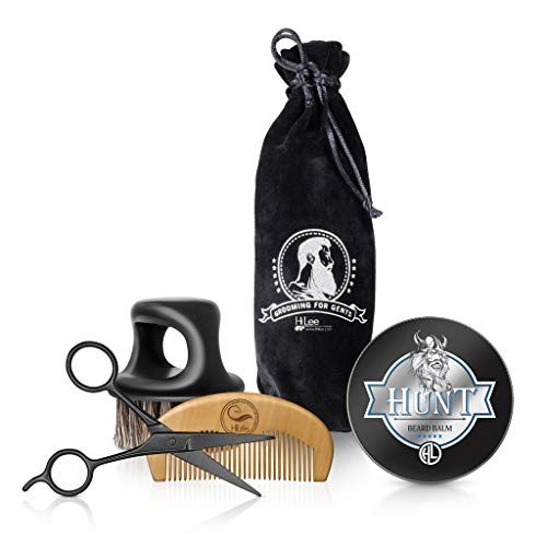 UPGRADED Beard Grooming & Trimming Kit. Beard Brush & Beard Comb Grooming Beard Kit with Barber Scissors and Styling and Growthing Balm, Best Gift for Christmas for men. Adds Shine & Softness.
