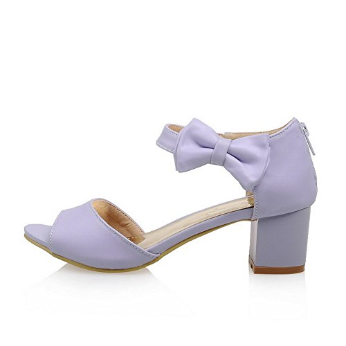 VogueZone009 Women's Kitten-Heels Soft Material Solid Zipper Peep Toe Sandals Purple Sdwcw