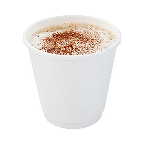 500-CT Disposable White 8-oz Hot Beverage Cups with Double Wall Design: No Need for Sleeves - Perfect for Cafes - Eco Friendly Recyclable Paper - Insulated - Wholesale Takeout Coffee - 8 Ounce Cafe Mug