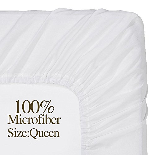 NTBAY 100% Microfiber White Queen Size Brushed Lightweight Fitted Sheet (Queen,White) (White Sheet Spring)