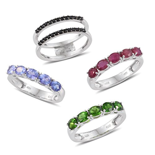 Tanzanite Platinum Bands (Multi Gemstone Platinum Plated Silver Interchangeable Band Ring 6.07 cttw. Size 6)