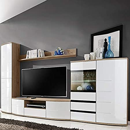 NOUVOMEUBLE Galatone - Conjunto de televisor, Color Blanco y Roble Claro: Amazon.es: Hogar