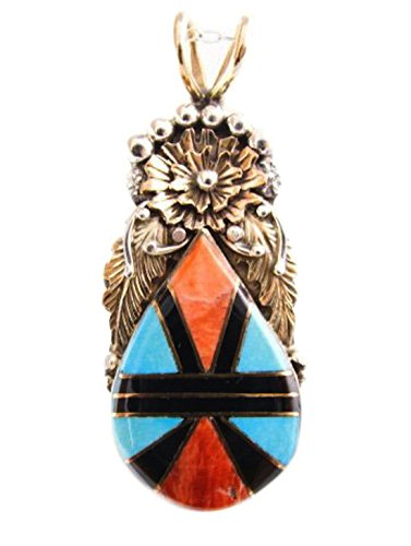 Silver-12KGF-Vintage-Spiny-Oyster-Turquoise-Floral-Pendant