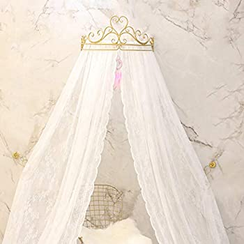 Image of GE&YOBBY Lace Bed Canopy,Crown Princess Bed Curtain Court Mosquito Net with Decorative Drapery Metal Crown for Bedroom-White Home and Kitchen