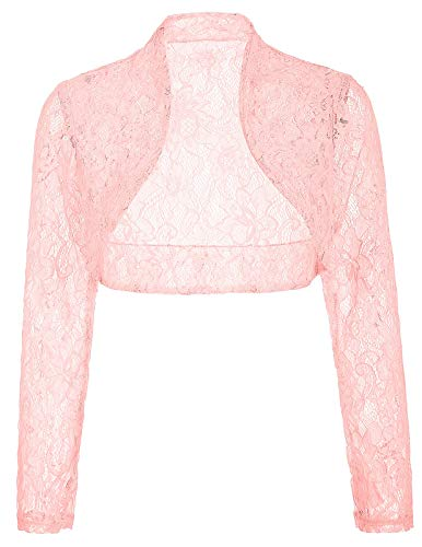 Women's Wedding Lace Cardigan Bolero Bridal Shrug (2XL,Pink)