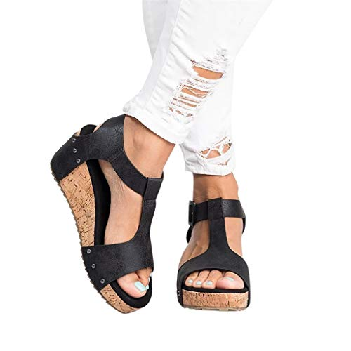 Sandals for Women with High Wedge Wobuoke Fashion Solid Open Toe Thick Bottom Strap Buckle Beach Shoes Roman Sandal Black