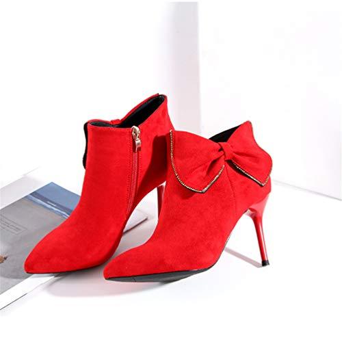 Alto Aghi Aghi Aghi Tacco da Elegante Boot Boot Boot Punte Stivali Short JITIAN Stivali Rosso Donna Nodo Zip Scarpe wq0I0X5