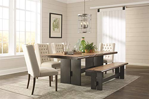 Marquette Live Edge Dining Table with Trestle Base Natural Honey and Charcoal - Set includes: One (1) dining table Materials: Mahogany, hickory veneer and MDF Finish Color: Natural honey and charcoal - kitchen-dining-room-furniture, kitchen-dining-room, kitchen-dining-room-tables - 41Qq2m3kUbL -