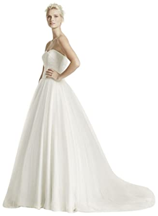 David\'s Bridal Sample: Ruched Bodice Tulle Ball Gown Style ...