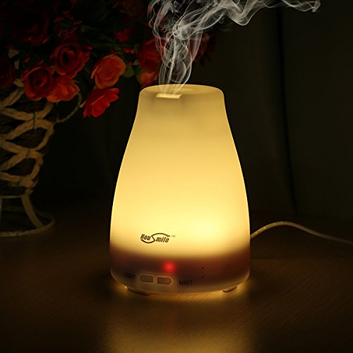 Housmile 100ml Aroma Essential Oil Diffuser, Ultrasonic Cool Mist Humidifier with Waterless Auto Shut-off, Mist Mode Adjustment and Color Changing LED Lights for Home, Bedroom - Upgraded Version