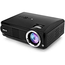 iRULU Video Projector Support 1080P with HDMI AV for Multimedia Home Cinema Theater TV Laptop Game Smartphone (black)