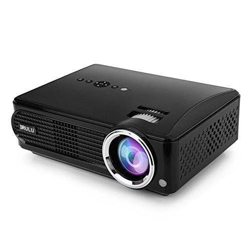 iRULU Video Projector Mini LED Projector Support 1080P with HDMI AV for Multimedia Home Cinema Theater TV Laptop Game Tablet Smartphone (Black)