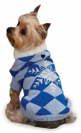 East Side Collection Acrylic Snowflake Snuggler Dog Sweater, Small, 12-Inch, Blue