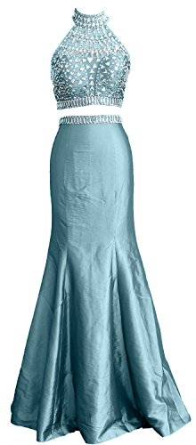 MACloth High Turquoise Women Mermaid Gown Prom Neck Dress Taffeta Two Piece Long Formal r676qPIUw