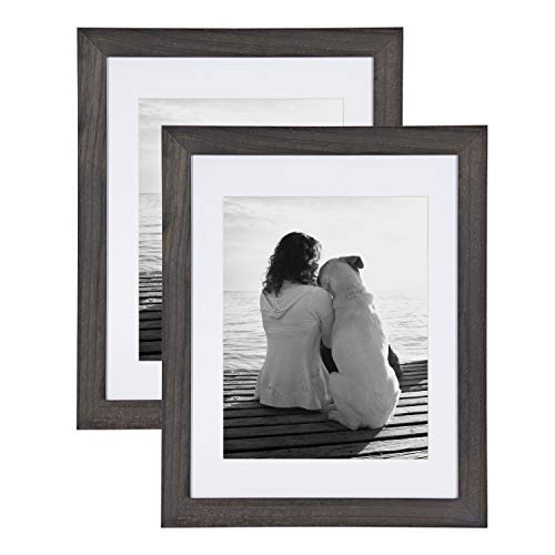 - DesignOvation Museum Wooden Traditional Picture Frame Set with Mats for Customizable Wall Display, 14x18 matted to 11x14, Charcoal Gray, 2 Pack