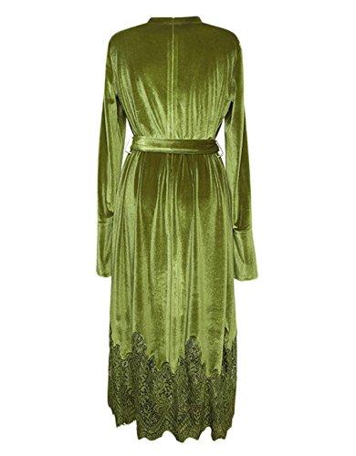 Larga Verde Manga Falda Cintura Lady Encaje De Terciopelo Vestido Invierno TqXFFg
