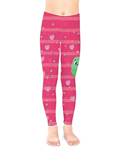 PattyCandy Girls Hot Pink Inlove Couple with Hearts Toddler Kids Leggings - 16 by PattyCandy