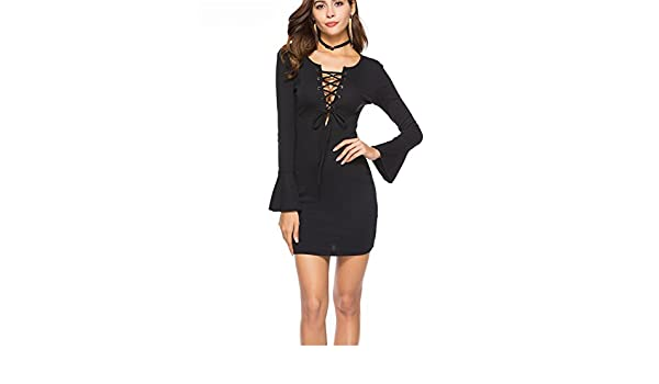 Frozac New Sexy Profundo V Masajeadores de Cuello Encaje Hasta las Mujeres Punto Mini Vestidos Mangas de Moda Bodycon Slim Vestidos Black XL at Amazon ...