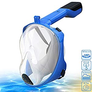 AQUALATION [New 2019 Upgraded Snorkel Mask Full Face - 180° Large Panoramic View - Snorkeling Mask with Camera Mount, Easy Breath Dry Top Set, Anti-Fog for Men, Women, Adults Youth (S/M)