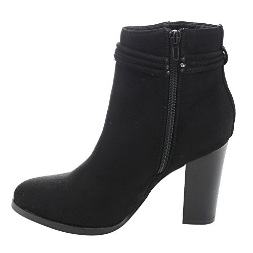 ATHENA ED49 Womens Side Zip Tassel Lace Wrap Stacked High Heel Ankle Booties Black Ym4XPF