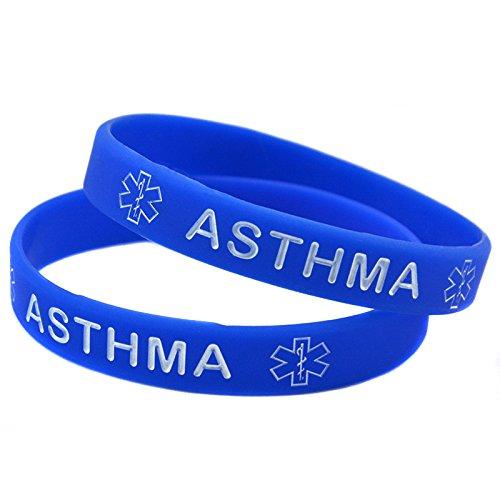 1x Medical Asthma Awarenes Alert Silicone Bracelet Wristband (Blue) (Asthma Medical Alert Bracelet)