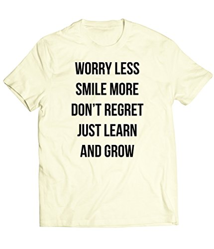 Cream Cookies Unisex, Cool life quote, Worry less smile more, T-Shirt XXL Ivory