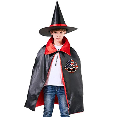 Wodehous Adonis Firefighter American Flag Skulls Kids Halloween Costume Cape Witches Cloak Wizard Hat -