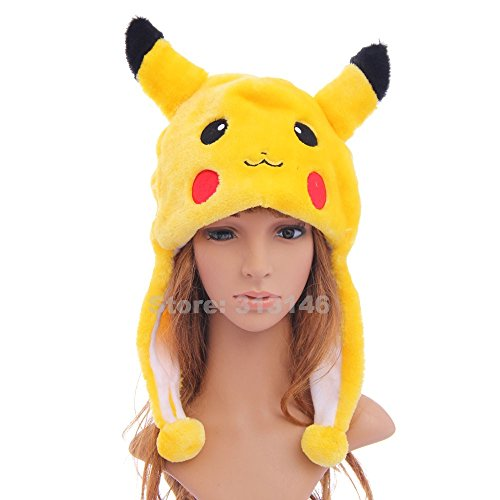 Cute Funny Plush Faux Fur Animal Stuffed Beanie Hood Hat Winter Adult Womens Mens Children Kids Boys Girls Warm Cosplay Costume (Pikachu)