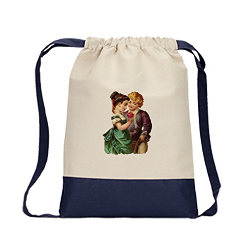 Backpack Color Drawstring Couple Of Kid With Rose Valentines Day | Navy by Style in Print