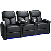 Seatcraft Raleigh Home Theater Seating Power Recline Leather Gel (Row of 3, Black)