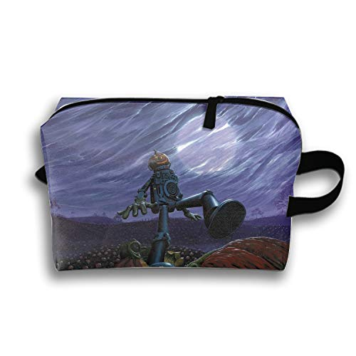 Hanging Storage Bag Halloween Pumpkin Robot Cosmetic Bag Carry Toiletry Case ()