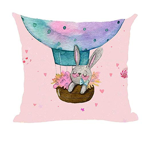 Mesllings 2018 F/W Watercolor Rabbit Sleep in The Hot Air Balloon Pink Love Throw Pillow Case Cushion Cover Decorative Cotton Blend Linen Pillowcase for Sofa 18