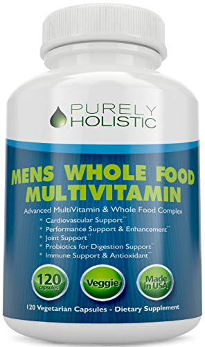 Multivitamin for Men ★ Daily Supplement 120 Capsules ★ Whole Food Multivitamin, Mens Multivitamin Organic, Vitamins, Minerals, Probiotics, Zinc, Selenium, Spirulina, Calcium, Turmeric, Magnesium