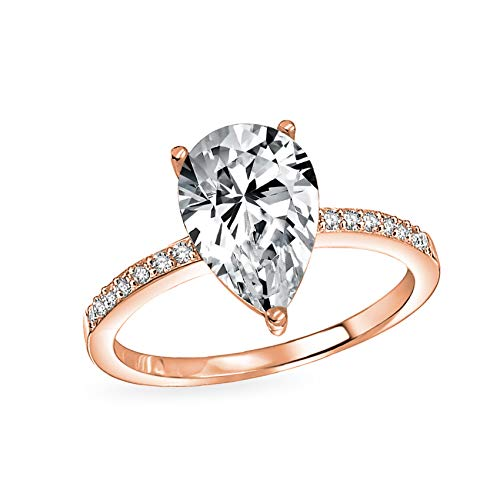 2.5CT Teardrop Pear Shape Solitaire AAA CZ Engagement Ring Thin Band Cubic Zirconia Rose Gold Plated 925 Sterling Silver ()