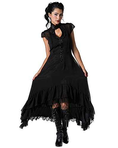 Gothic Vampire Dress (Jawbreaker Gothic Vampire Vintage Cowboy Black Chiffon High Low Victorian Gothic Dress (XL))