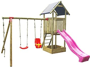 Wooden Garden Slide And 2 Swing Set With Tower Amazoncouk Toys