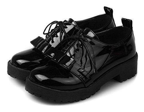 Aisun Kvinna Rund Tå Snörning Dressy Vintage Rosett Plattform Tossor Chunky Låg Klack Oxfords Skor Svarta