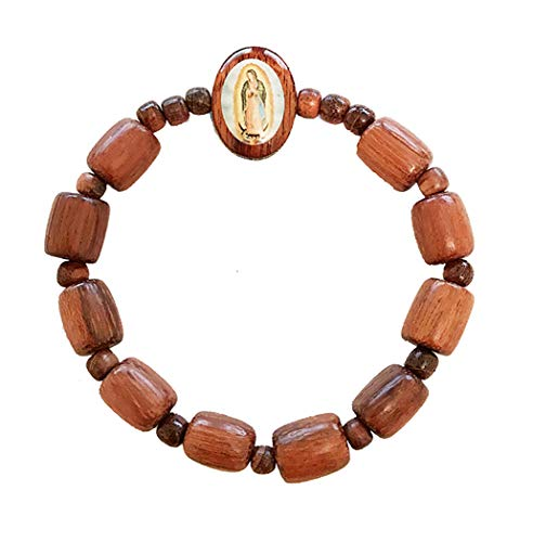 Catholica Shop Our Lady of Guadalupe Oval Wooden Bracelet Rosary Decade Stretch | Wood Medal