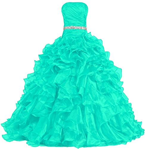 ANTS Women's Pretty Ball Gown Quinceanera Dress Ruffle Prom Dresses Size 14 US Mint (Pretty Mint)
