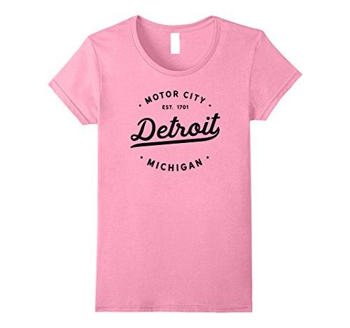 Womens Classic Retro Vintage Detroit Michigan Motor City Tshirt XL Pink