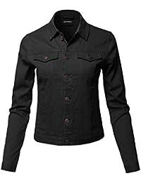 Womens Casual Soft Shell Stretch Long Sleeves Denim Jacket