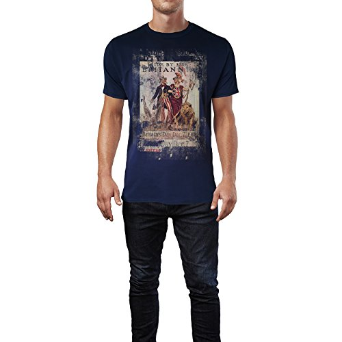 SINUS ART® Britannia Herren T-Shirts stilvolles dunkelblaues Navy Fun Shirt mit tollen Aufdruck