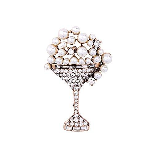 Pearl brooch women's diamond crystal goblets